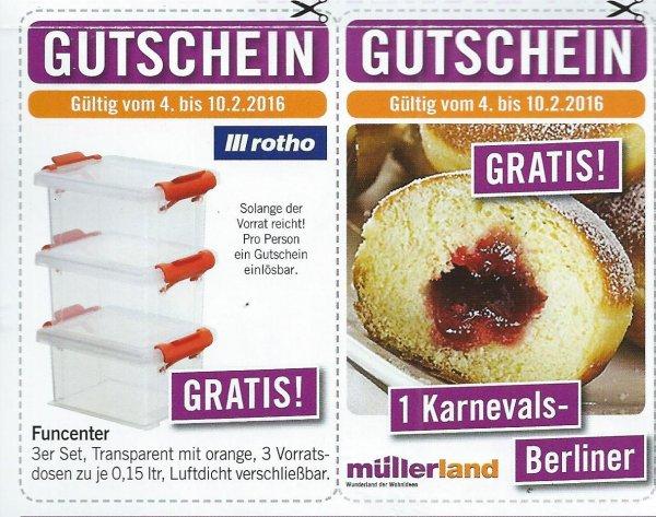 [Lokal Hennef & Görgeshausen] Gratis 3x Rotho Vorratsdosen & 1x Karnevalsberliner