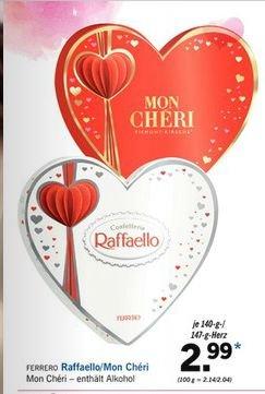 [Ab Mo.08.01 bei LIDL] Denkt an den Valentinstag.Ferrero Raffaello oder Mon Chéri  in Herzverpackung. Je 140g/147g nur 2,99€
