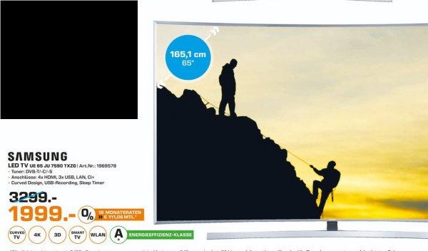 [Lokal Saturn Schweinfurt] SAMSUNG UE65JU7590T, 163 cm (65 Zoll), UHD 4K, 3D, LED TV, 1400 PQI, DVB-T, DVB-T2, DVB-C, DVB-S, DVB-S2 für 1999,-€