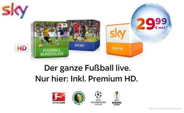 Sky Starter + Premiumpakete Fußball-Bundesliga und Sport inkl. Premium HD für monatlich 29,99