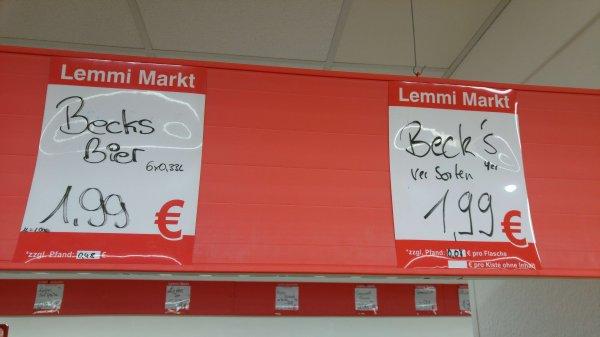 [Lokal Lemmy Markt Hamm] Becks / Warsteiner 6x0,33 Pils sowie Becks 4x0,33 Premiumsorten