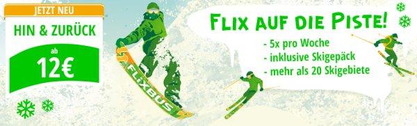 Mit Flixbus in die schönsten Skigebiete reisen ab/über München ab 12€