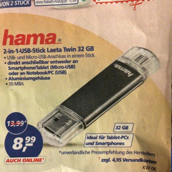 HAMA 2in1 USB-Stick Laeta Twin 32GB