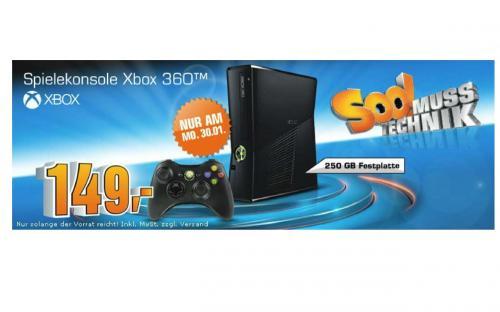 Saturn Xbox 360 Slim 250GB 149€ nur Montag 30.01.12