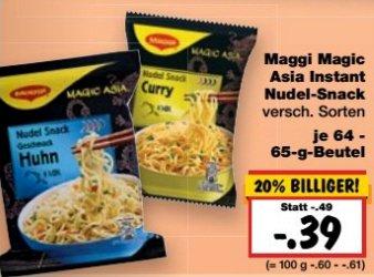 [Kaufland] Maggi Magic Asia Instant Nudel-Snack 5 Packungen für 0,00-0,20€ [08.02-13.02.16] nicht in Ba-Wü und Bayern