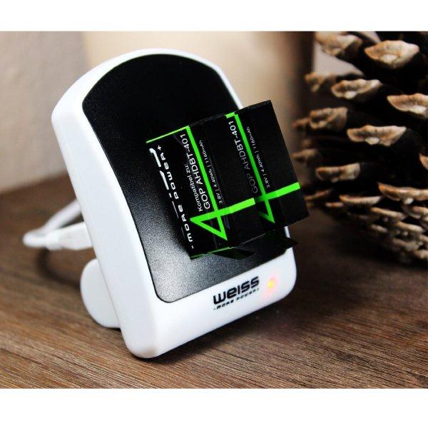 GoPro 4 6in1 Ladeset mit 2 Akkus, Duoladegerät, USB Netzteil und KFZ-Lader für 18,99€ statt 27,49€, Akku für 6,99€ statt 9,99€ bei Amazon