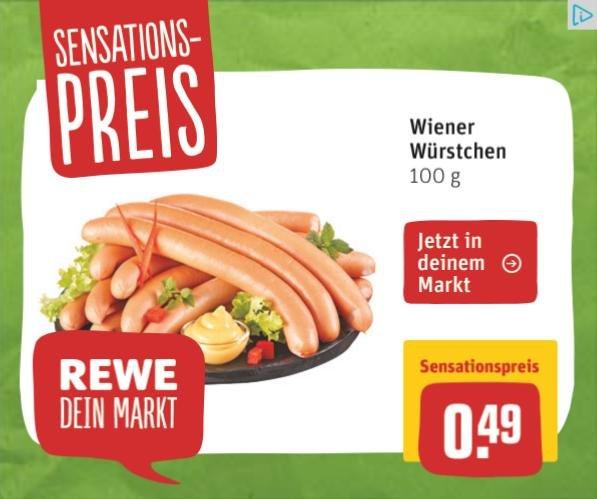 [REWE] Wiener Würstchen 100g für 0,49€ statt 1,19€
