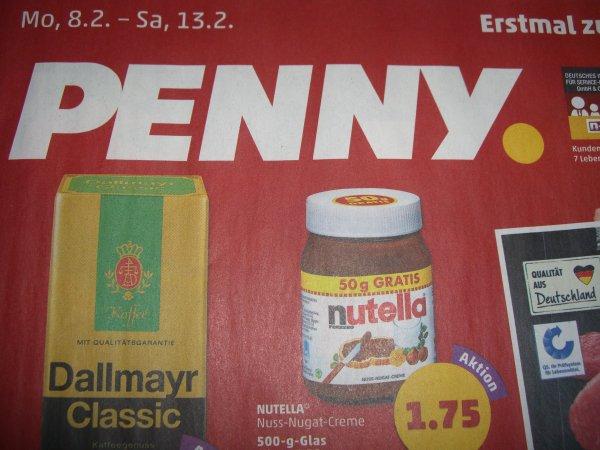 Nutella 500g Glas für 1,75€