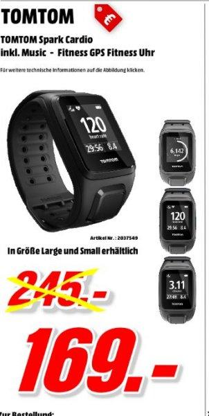 [Mediamarkt Porta Bundesweit] TomTom GPS-Pulsuhr mit integriertem Sensor,Bluetooth Spark Cardio + Music.Gr.S und L für 169,-€.Bei Kauf der Uhr zusätzlich Philips SHB5900BK - Bluetooth-Kopfhörer für 59,-€.
