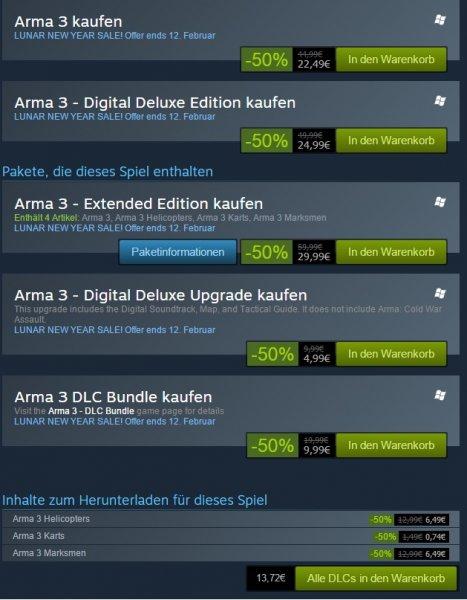 [Steam] ARMA 3; ARMA 3 DLC's  50% reduziert