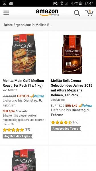 [Amazon] Melitta Mein Café 1kg 8,99 Tagesangebot