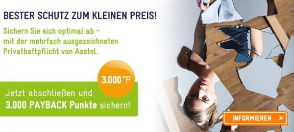 Asstel-Privathaftpflicht für 1,16/5,50/10,29 € (1 Jahr) bzw. bei 150 SB sogar mit Gewinn (Payback-Konto erforderlich) - nur noch heute