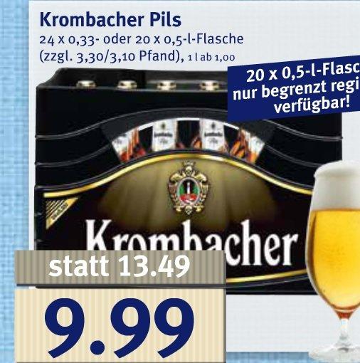 [ JIBI ] Krombacher Pils 24 x 0,33- oder 20 x 0,5-l-Flasche 9,99€