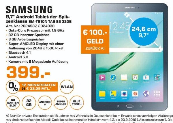 "(Lokal) Samsung Galaxy Tab S2 9,7"" 399€ - 100€ Cashback @ Saturn Essen,Mülheim,Oberhausen (Tagesangebot 13.2)"