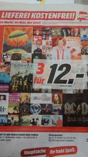 [MediaMarkt bundesweit] Aktion 3 CD's für 12€