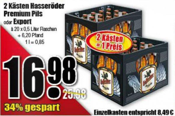 [diska Sachsen-Thüringen] Zwei Kästen Hasseröder für 16,98 €