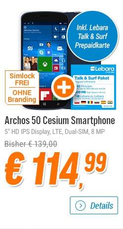 ARCHOS 50 Cesium - Windows 10 LTE Smartphones - Sim Free + Prepaidkarte im Wert von 12,99 € @ NBB