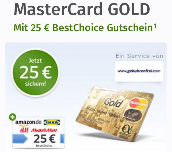 [Online,Web.de Nutzer] Master Card Gold + 25€ Bestchoice Gutschein = 0€ (dauerhaft kostenlos!)