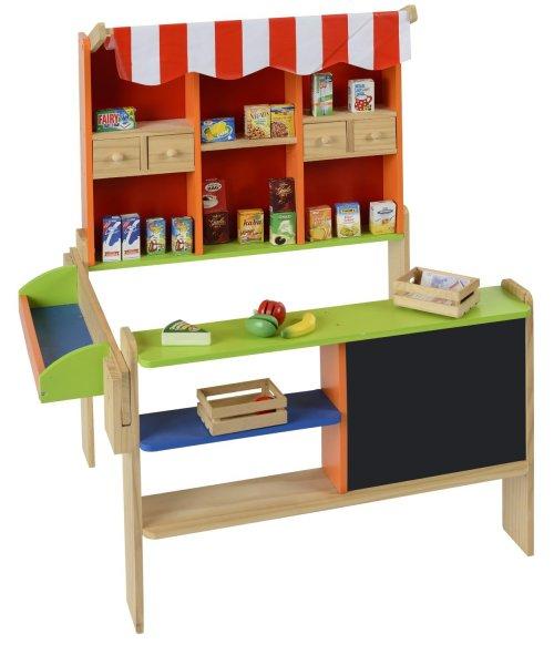 Beluga 30861 - Einkaufsladen mit Markise, Naturholz, Theke und Tafel @ Amazon.de
