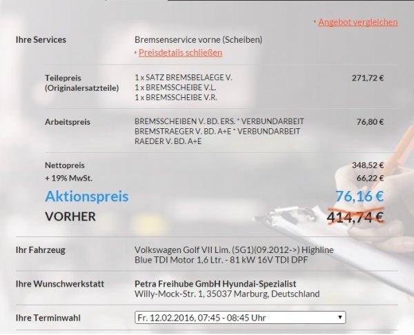 [Lokal Marburg?] Bremsen-Wechsel Vorderachse nur 76,16 €