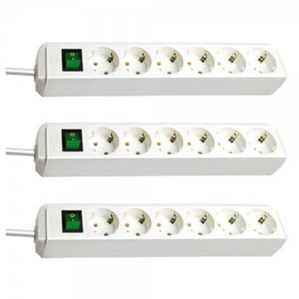 3 Sück Brennenstuhl Eco-Line Steckdosenleiste mit Schalter 6-fach weiß @ebay 16,95€