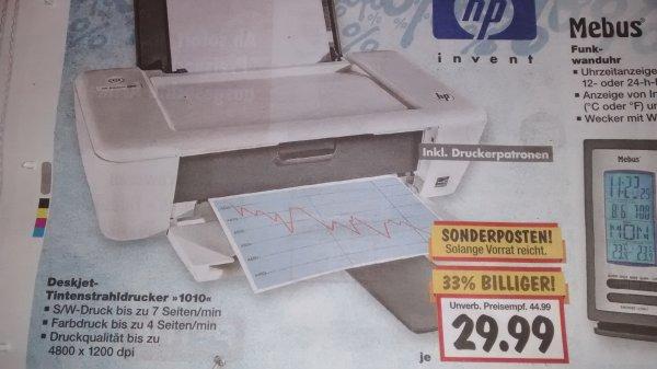 [Kaufland bundesweit] HP Deskjet 1010 Drucker für 29,99€ inkl. Patronen