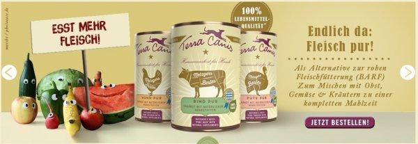 Terra Canis Hundefutter 20 % Rabatt auf Rind mit Zucchini, Kürbis und Oregano getreidefre / 400 gr