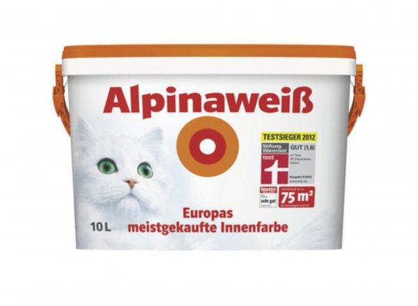 Alpinaweiß Innenwandfarbe 10 Liter mit der Katze (bei Kauf von 2 Eimern für 37,51 Euro pro Eimer)