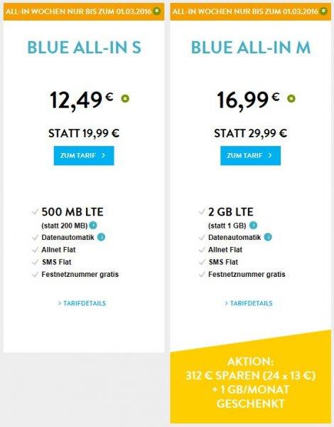 o2 BLUE ALL-IN Tarife S und M bis 1.3. günstiger / Allnet und SMS Flat / 500 MB bzw. 2 GB LTE / Festnetznummer