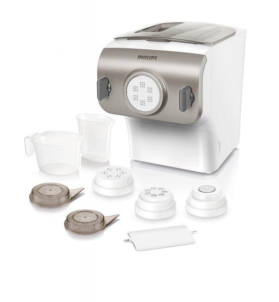 [Amazon] Philips HR2355/12 Pastamaker, Automatisches Mischen, Kneten und Ausgeben, 200 W, 4 Aufsätze, champagnerfarben