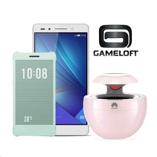 [Vmall] Honor 7 LTE + Dual-SIM (5,2'' FHD IPS, Kirin 935 Octacore, 3GB RAM, 16GB intern, Vollmetallgehäuse, 3100 mAh, Android 5 -> 6) + Flip Case + BT-Lautsprecher + Gameloft 80 Pfund für 274,65€