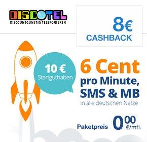 DiscoTEL LTE Prepaid 6 Cent Tarif für 9,95€ zzgl. 8€ Qipu Cashback
