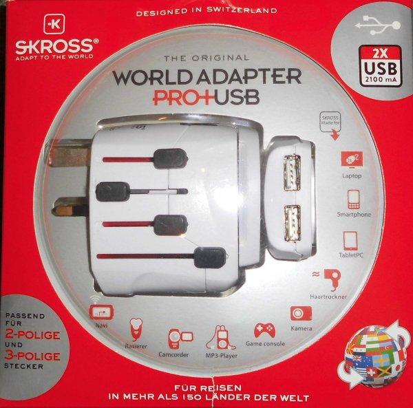 [Metro] Reieseadapter SKROSS World Adapter Pro+ USB 2 fach Netzteil ca. 65% unter Idealo