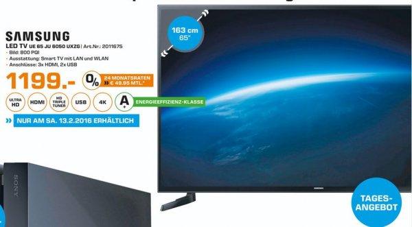 [Lokal Saturn Paderborn] Tagesangebot2 am Samstag 13.029..Samsung UE65JU6050 Fernseher 163cm (65 Zoll) 4K Ultra HD LED-TV, 800 PQI, Triple Tuner, Smart TV, WLAN für 1199,-€