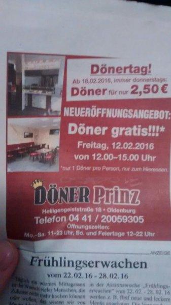 [Lokal Oldenburg] Gratis Döner bei Dönerprinz nur Heute von 12 - 15 Uhr