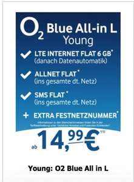 O2 Blue All in L/XL für junge Leute Sim Only ab 14.99€