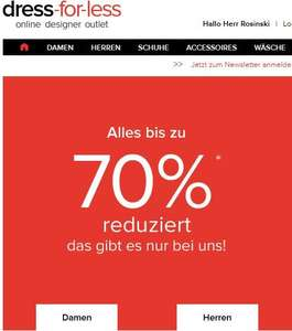 DRESS FOR LESS --> bis zu 70% SALE + 15% GUTSCHEIN
