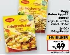 [Kaufland] KW07: Maggi Suppen mit ~90 % Ersparnis (Angebot+Coupon) + 2€ Coupon bekommen (bei Teilnahme)
