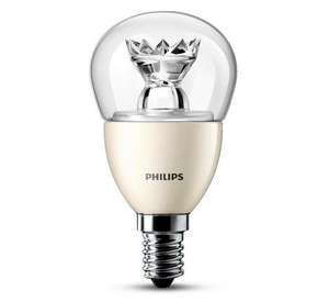 Phi­lips LED-Trop­fen E14 6W, 470 Lumen, warm­weiß, dimm­bar , 6 kWh/?1000 h , EEK: A+ (4er Pack) für 19,89 € bei Brands4friends