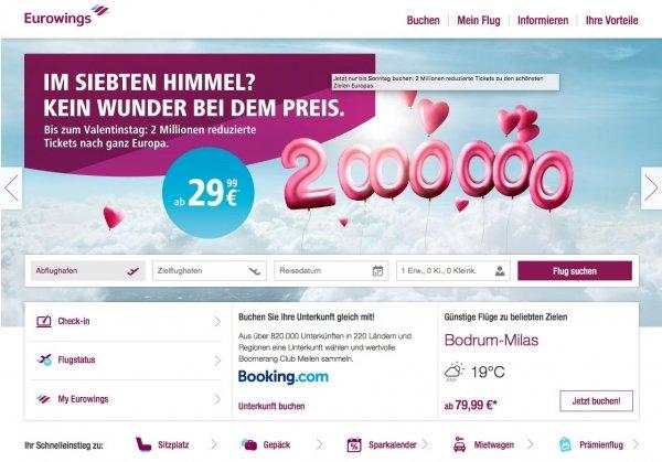 EUROWINGS: 2 Mio. reguzierte Tickets ab 29,99 Euro