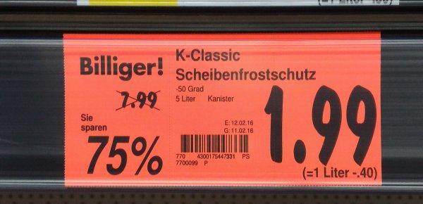 (lokal Königsbrunn?) Scheibenfrostschutzmittel Kaufland 5 Liter bis -50 Grad