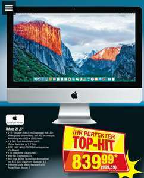 "[Metro ab 18.02] Apple iMac 21.5"" (1.6 GHz)"