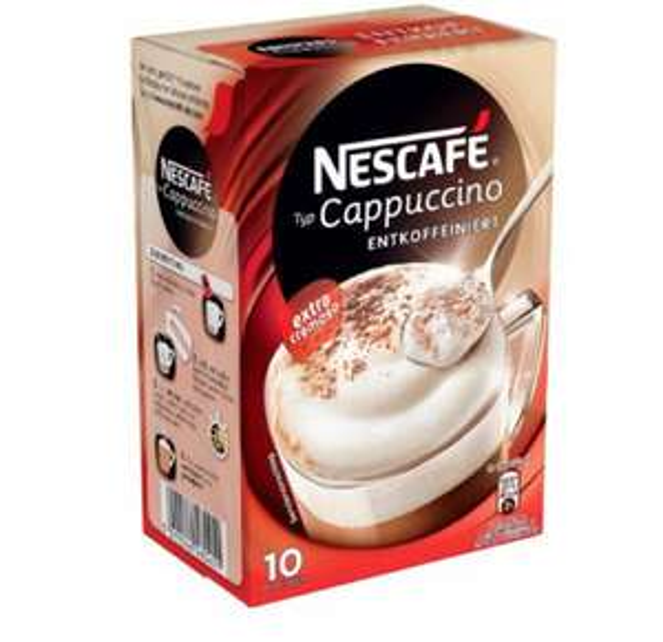 [Amazon Plus Produkt] Nescafé Typ Cappuccino Entkoffeiniert, Löslicher Kaffee, Faltschachtel mit 10 x 12,5g Portionsbeutel (4er Pack) 4,96€
