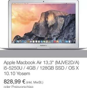 MacBook Air 4GB 128GB 2015 828,99 Euro