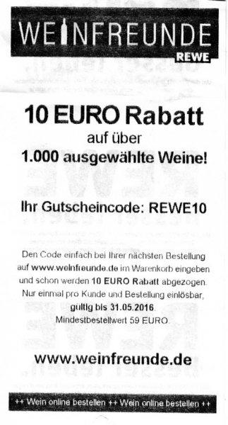 Weinfreunde (REWE) 10 Euro Rabatt