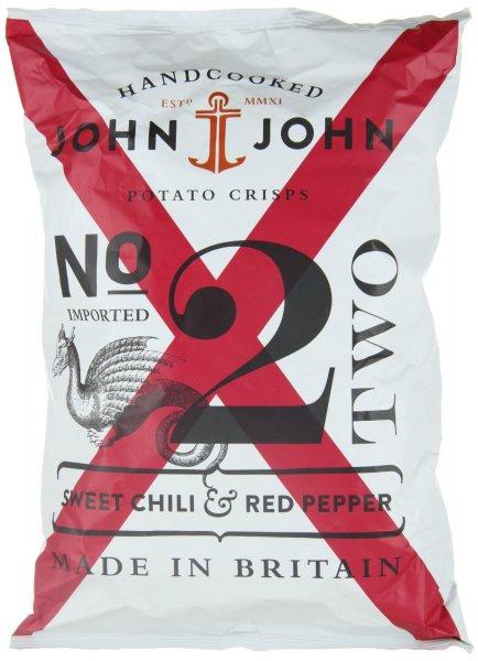 [Amazon-Prime] John & John Potato Crisps Sweet Chili & Red Pepper 150g, 6er Pack für 8,92 €