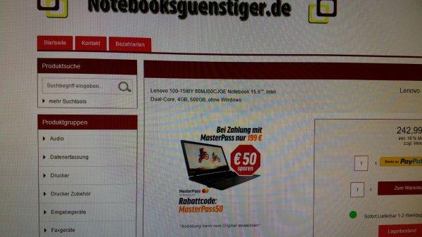Lenovo Notebook für 199 Euro laut Bild bei Masterpass Zahlung