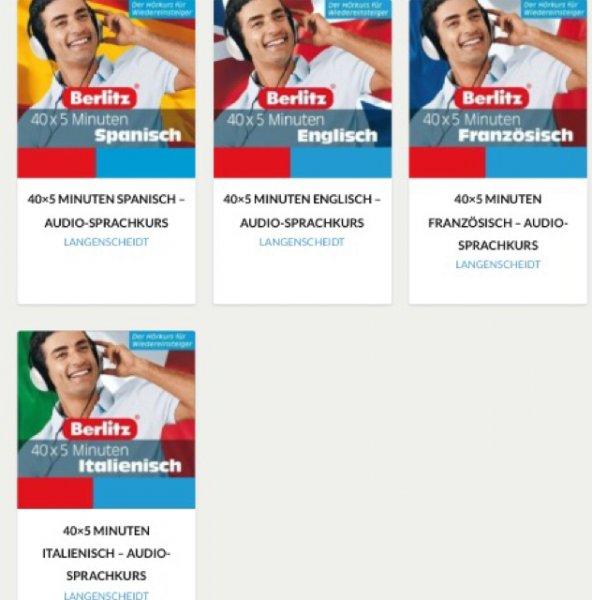 Langenscheidt Kostenloser Download Sprachkurse 4 verschiedene Sprachen 40x 5min spanisch/englisch/französisch/Italienisch