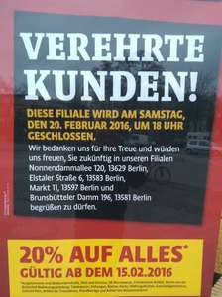 [Lokal,Berlin,Hinweis] Kaiser´s Schließungen in Berlin > 20% auf alles* ab Montag