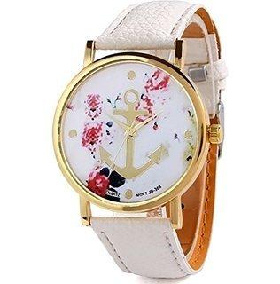 [Amazon] HITOP Vintage Retro Blume Damen Armbanduhr Basel-Stil **** Blumen Leather Quarz uhr Lederarmband Uhr Top Watch - weiß